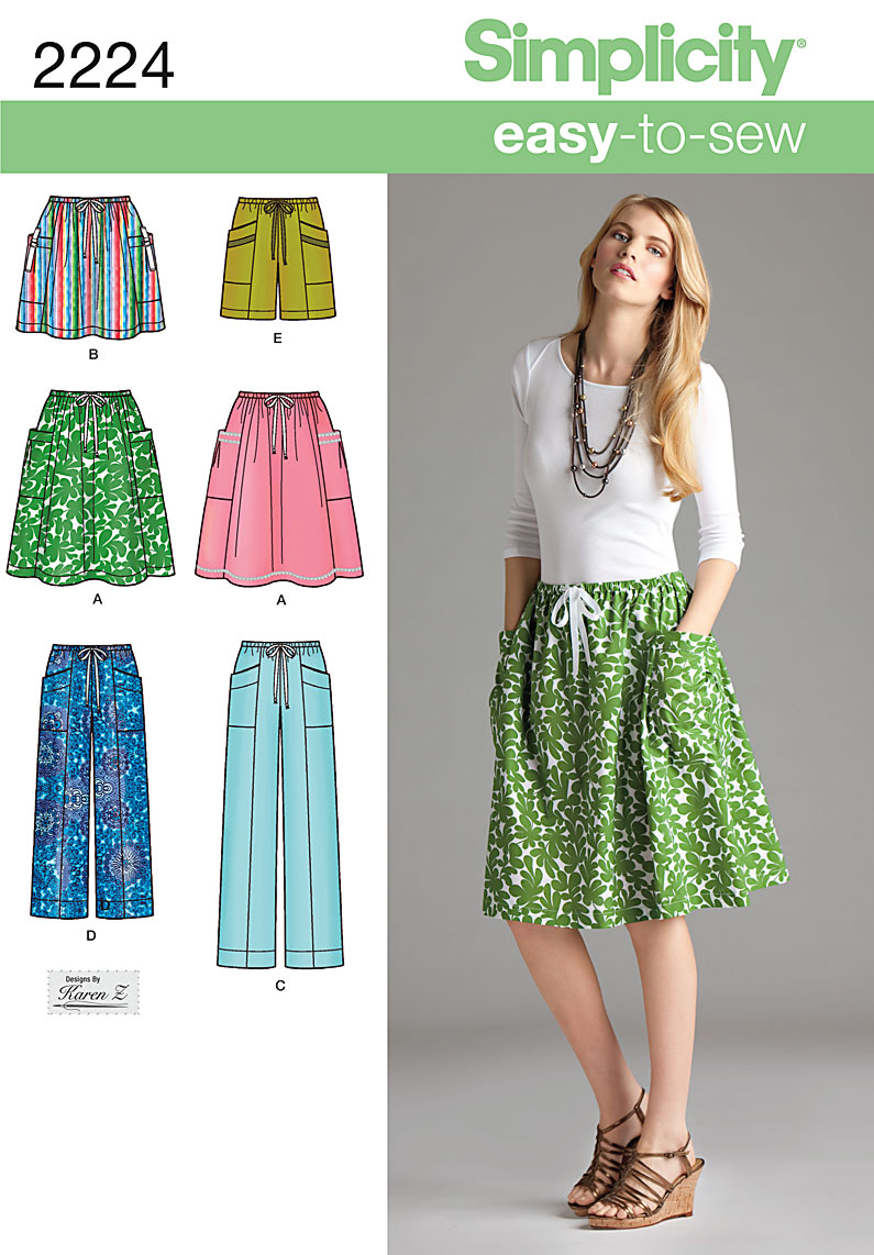 Simplicity Misses' Skirt. Pants or Shorts 2224