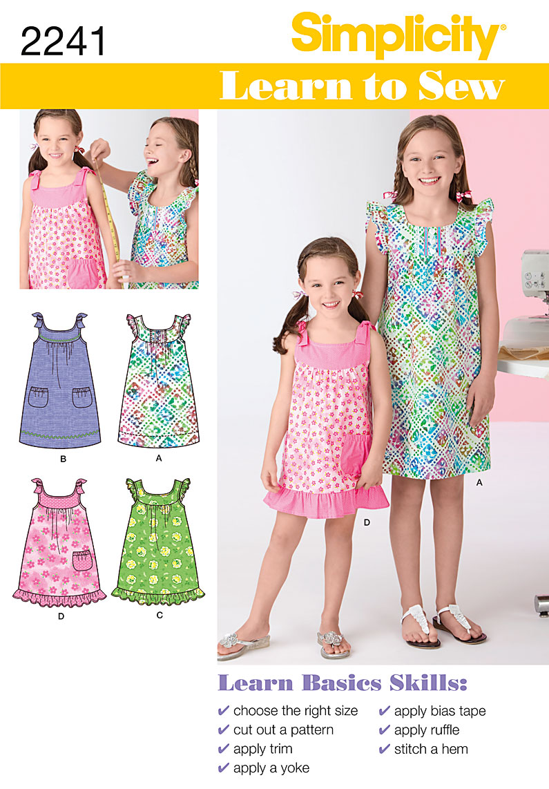 Simplicity Learn to Sew Child's & Girl's Dresses 2241