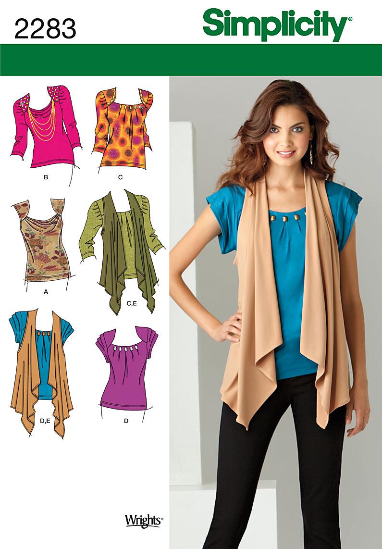Simplicity Misses' Knit Tops & Vest 2283