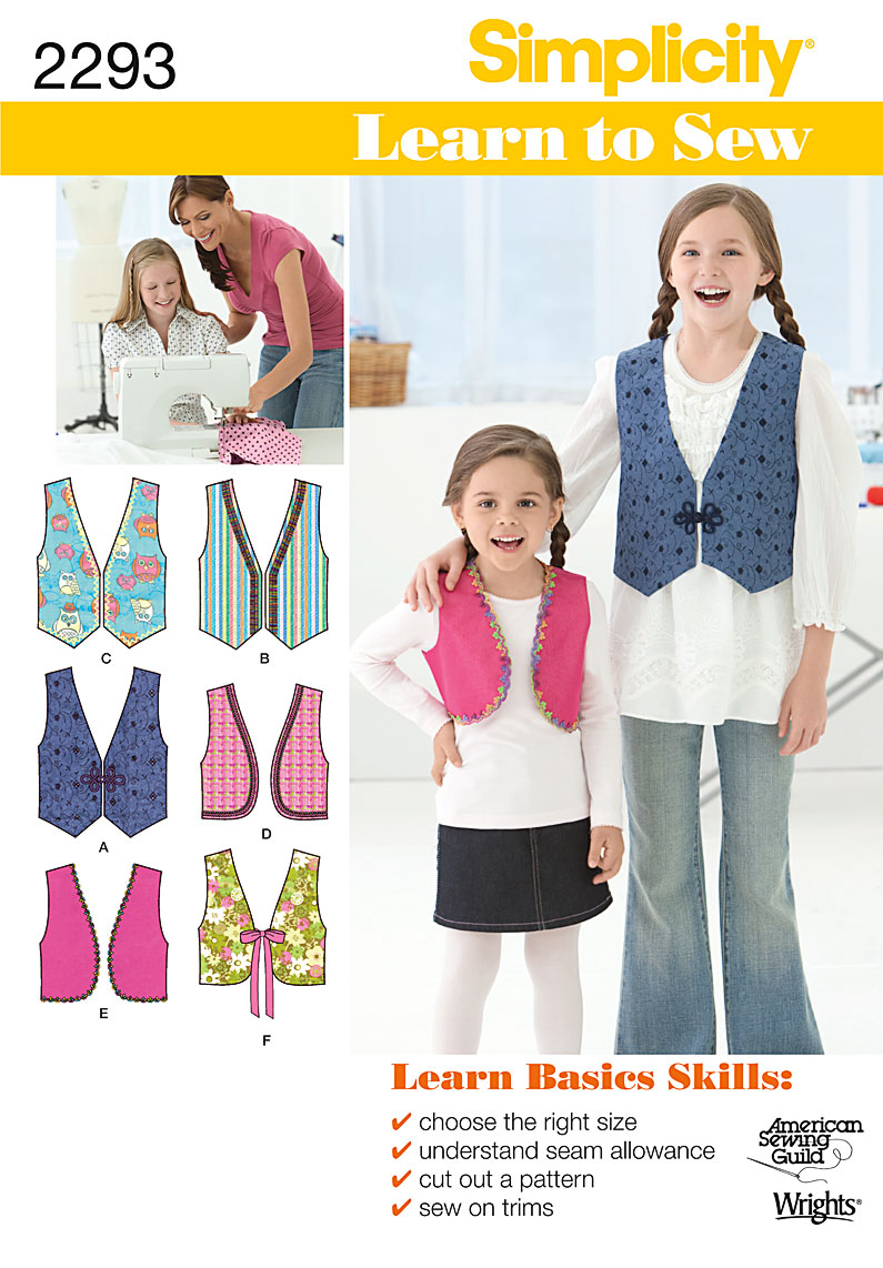 Simplicity Child's & Girl's Vests 2293