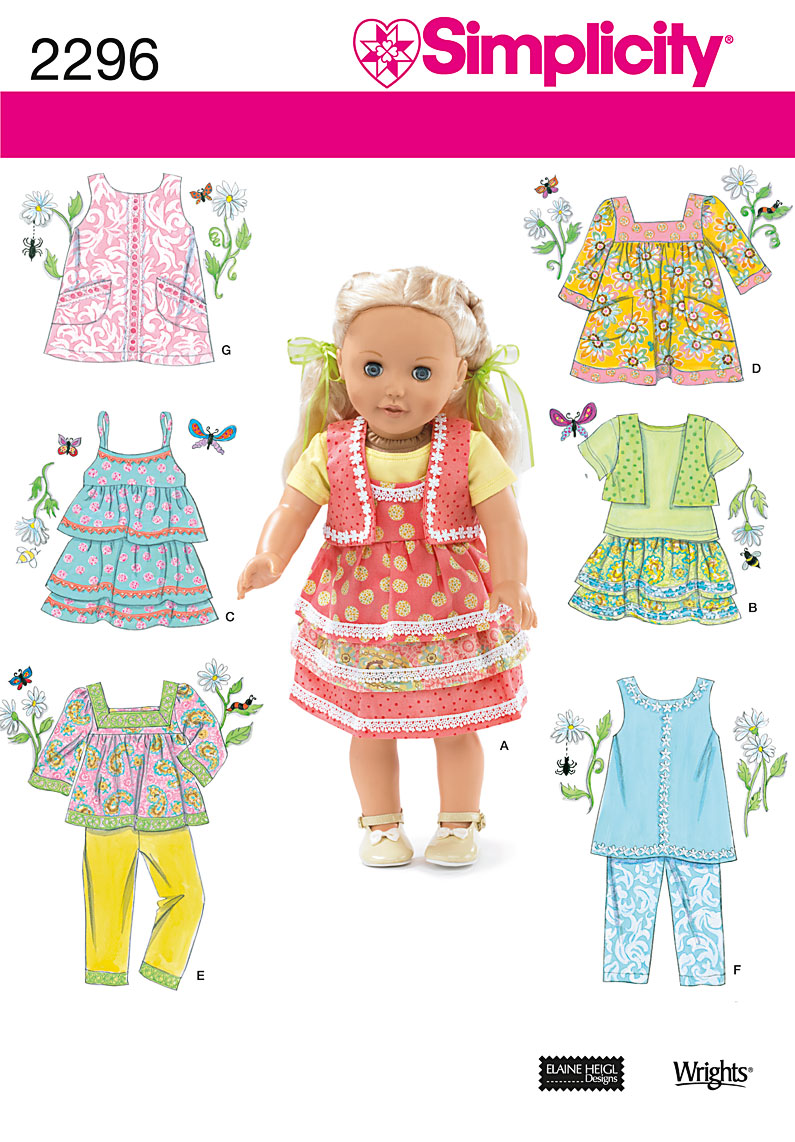 Simplicity Doll Clothes 2296