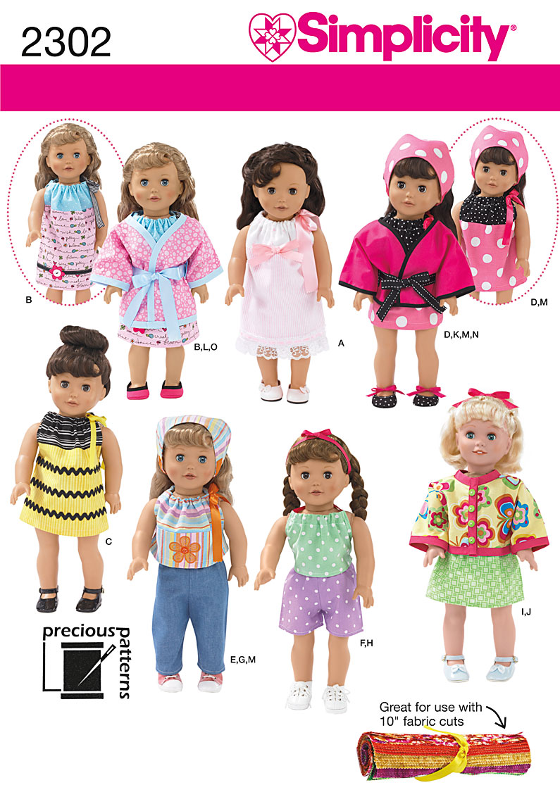 Simplicity Doll Clothes 2302
