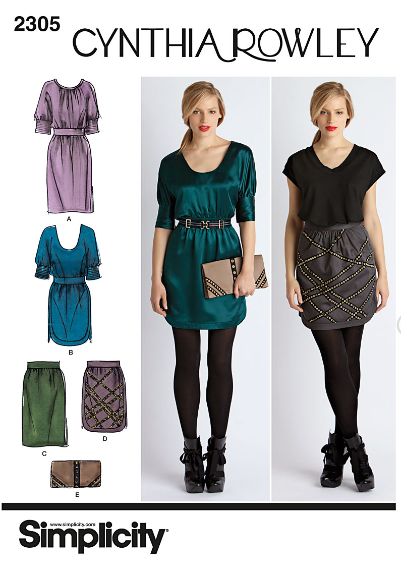 Simplicity Misses' Dress, Skirt & Purse, Cynthia Rowley Collection 2305