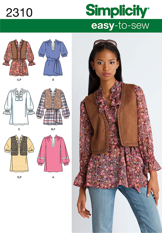 Simplicity Misses' & Miss Petite Tunic & Vest 2310