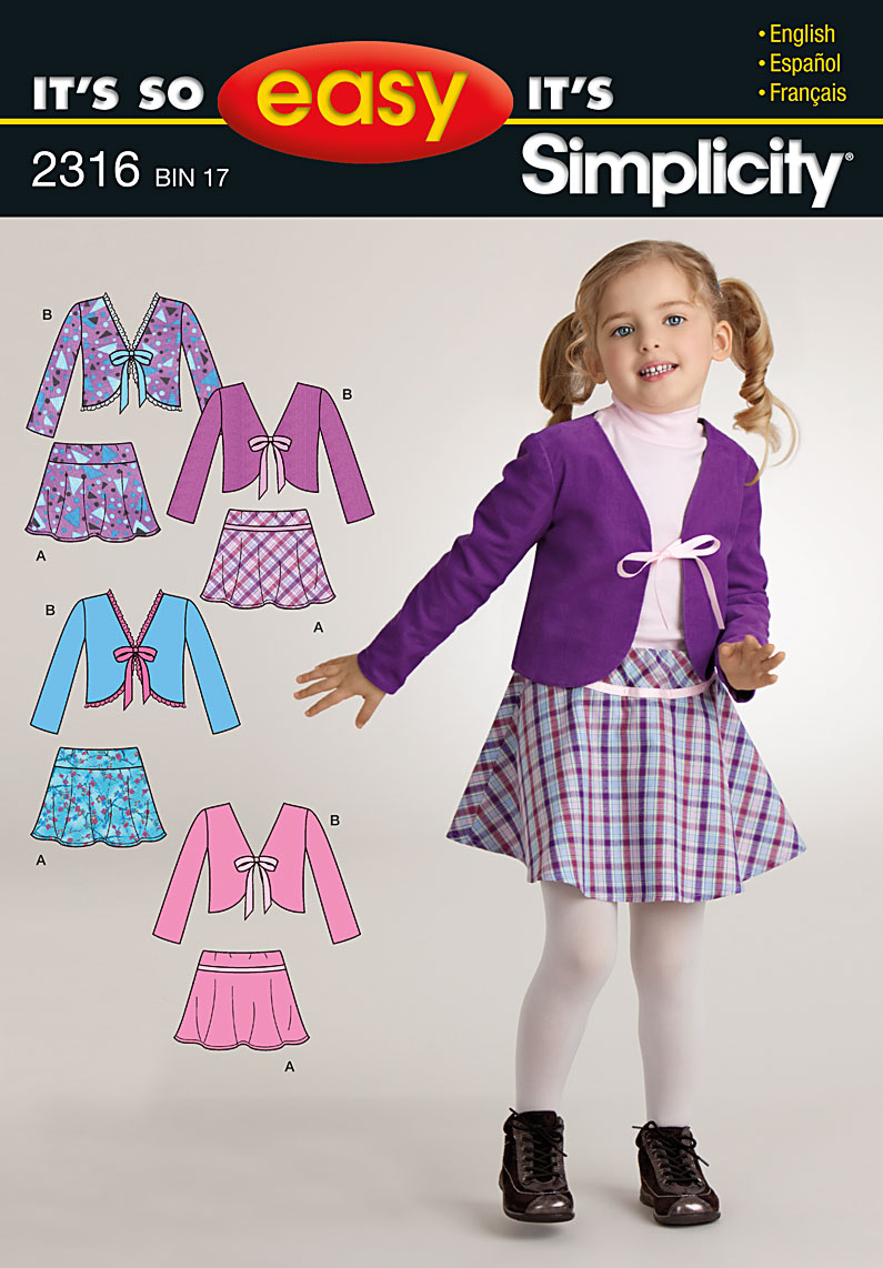Simplicity It's So Easy Child's Jacket & Skirt 2316