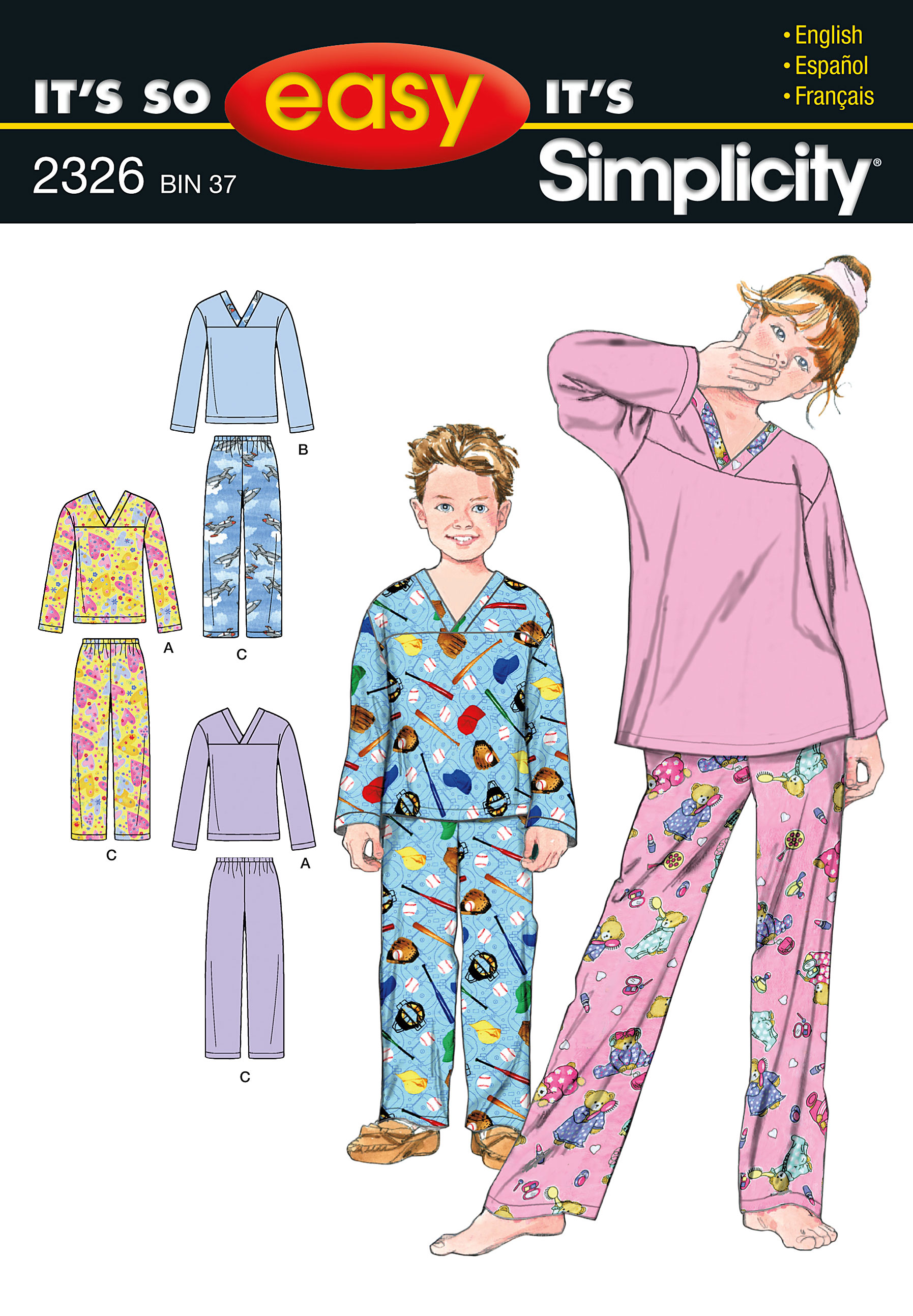Simplicity It's So Easy Girls' & Boys' Pajamas 2326