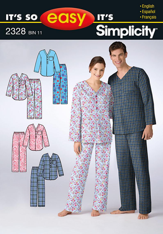 Simplicity It's So Easy Misses', Men's & Teen's Sleepwear 2328
