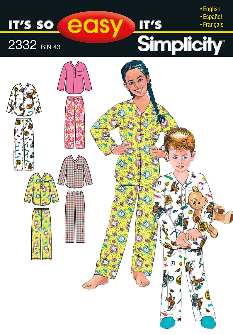 Simplicity It's So Easy Child's, Girl's & Boys' Sleepwear 2332
