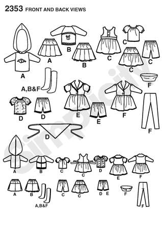 Amazon.com: Simplicity Sewing Pattern 2353 Blythe Doll Clothes