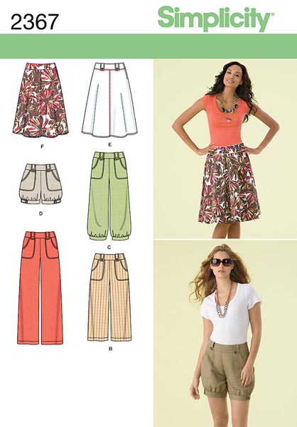 Simplicity Misses' Skirts, Shorts & Pants 2367