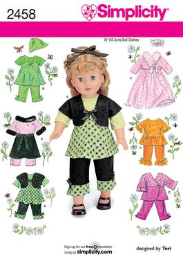 Simplicity Doll Clothes 2458