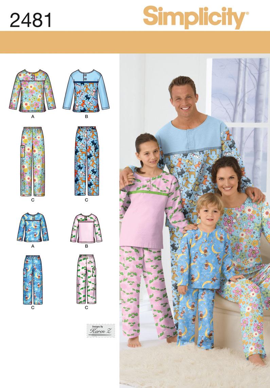 Simplicity Adult/Teen/Child Sleepwear 2481