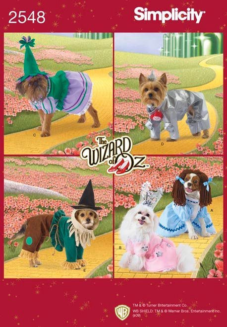 Simplicity Wizard of Oz Dog Costumes In Three Sizes 2548