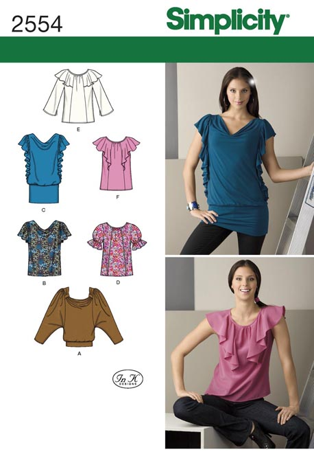 Simplicity Misses Knit and Woven Tops 2554