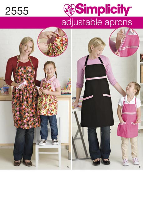 Simplicity Child and Misses Adjustable Aprons 2555