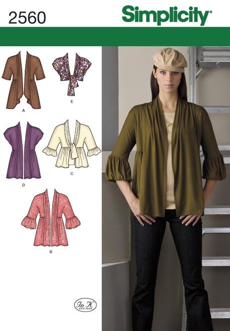 Simplicity Misses Knit Cardigans 2560