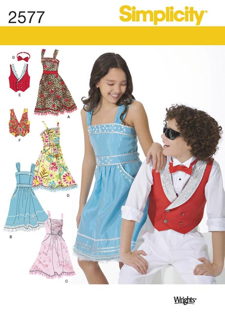 Simplicity Girls' Dress and Boy's Vest and Bow Tie 2577