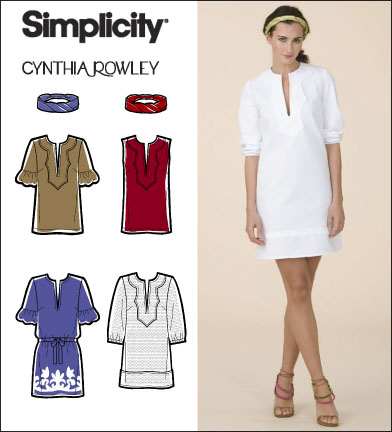 Simplicity Misses Dress, Tunic and Headband Cynthia Rowley Collection 2584