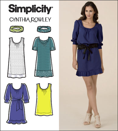 Simplicity Misses/Miss Petite Dress, Tunic, Tie Belt and Headband Cynthia Rowley 2586