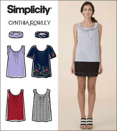 Simplicity Misses Tops and Headband Cynthia Rowley Collection 2593