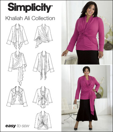 Simplicity Plus Size Knit Top and Cardi-Wrap Khaliah Ali Collection 2598