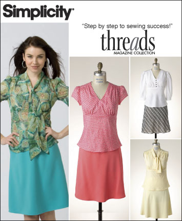 Simplicity Misses Pull Over Tops with Separate Patterns for A,B,C,D Cup Sizes and Bias Skirt: Threads Collection 2614