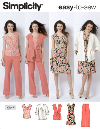 Simplicity Misses or Plus Size Jacket, Vest, Pants, Sash and Knit Dress and Top 2618