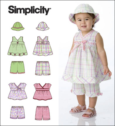 Simplicity Babies Tops, Shorts and Hat 2625