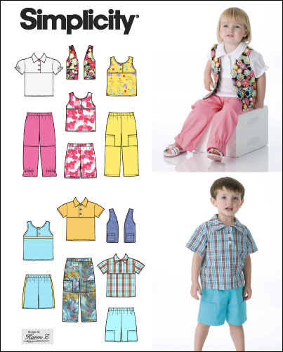 Simplicity Unisex Toddler Tops, Vest, Pants and Shorts 2627