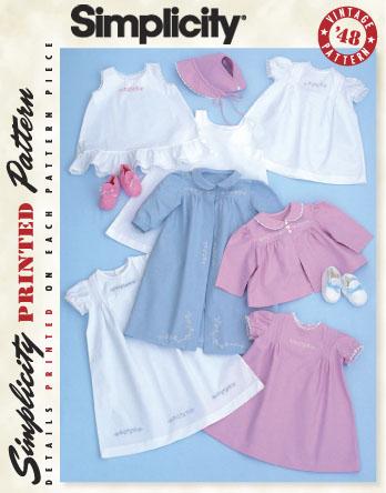 Simplicity Babies' 1940's Vintage Layette 2629