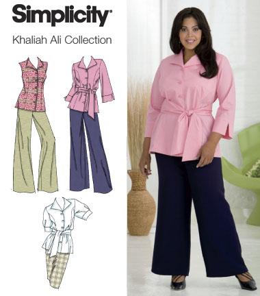 Simplicity Plus Size / Plus Sz Petite Pants, Skirt, Shirt w/ Separate Patterns for C,D,DD Cup Sizes Khaliah Ali Collection 2636