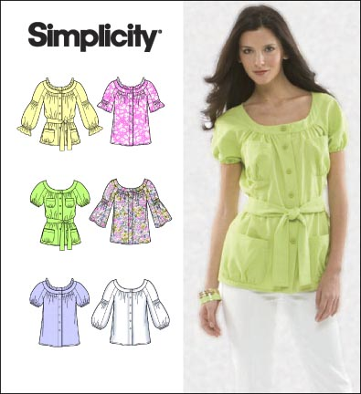 Simplicity Misses Blouse and Tie Belt 2651