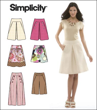 Simplicity Misses Skirt, Cropped Pants and Shorts 2656