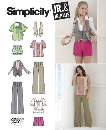 Simplicity Junior or Junior Plus Vest, Top, Pants, Shorts & Scarf 2665