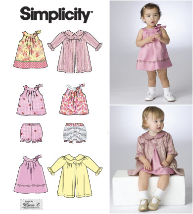 Simplicity Babies Dress, Top, Panties and Coat 2668