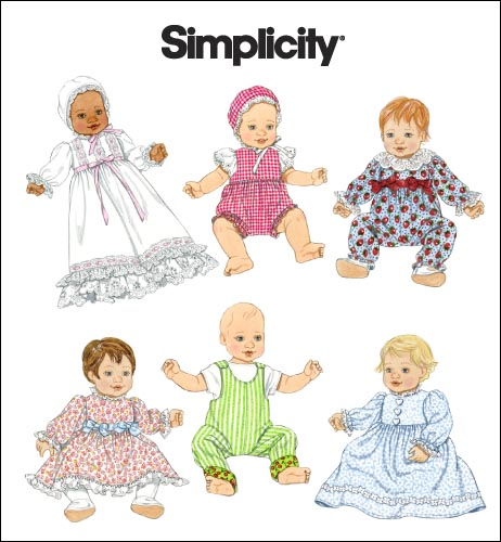 Simplicity Wardrobe for Baby Dolls in 3 Sizes 2704