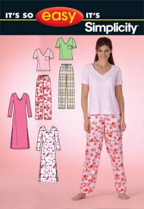 Simplicity MISSES' PANTS AND KNIT NIGHTGOWN OR TOP 2721