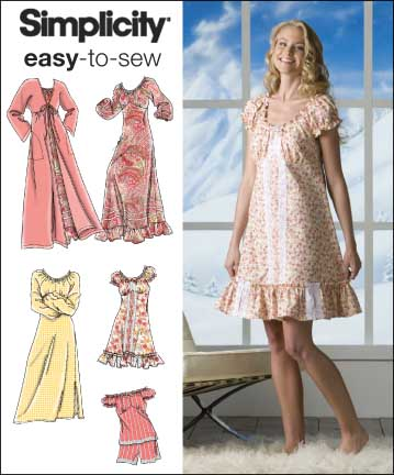 Simplicity MISSES' NIGHTGOWN IN THREE LENGTHS, PAJAMAS AND ROBE 2739