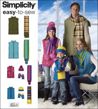 Simplicity UNISEX CHILD'S, TEENS', AND ADULTS' VEST, HAT, SCARVES AND MITTENS 2743