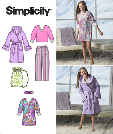 Simplicity GIRLS'/GIRLS' PLUS PANTS, ROBE, HEADBAND, BAG AND KNIT TUNIC OR TOP 2749