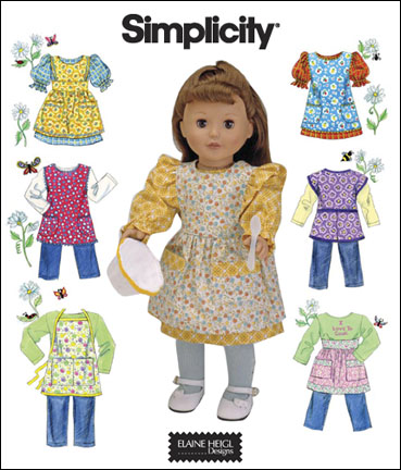 Simplicity 18 inch Doll clothes and aprons 2761