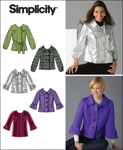 Simplicity Misses jacket in two lengths with sleeve variations and tie belt 2762