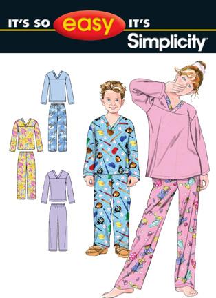 Simplicity Girls and Boys Pajama Pants and Top 2815
