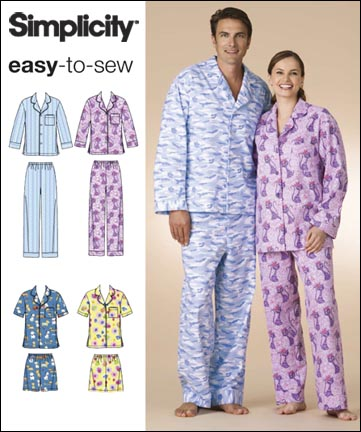 Simplicity Misses, Men and Teen Pajamas 2821