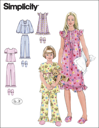 Simplicity Child or Girl Nightgown, Pajamas and Slippers 2831