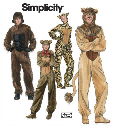 Simplicity Adult Gorilla, Lion, Bear and Cat Costumes 2853