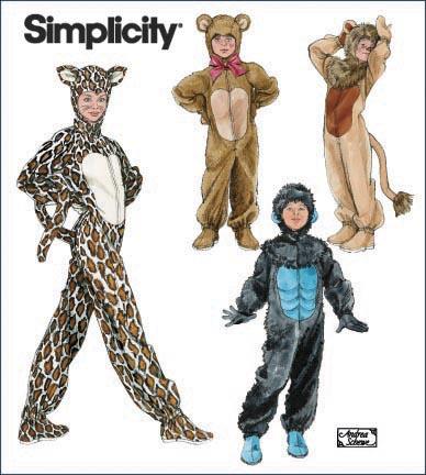 Simplicity Child Gorilla, Lion, Bear and Cat Costumes 2855