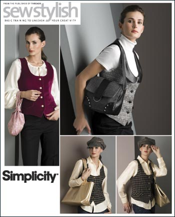 Simplicity Misses Lined Vest, Hat, Wristlet, Purse and Tote Sew Stylish Collection 2862