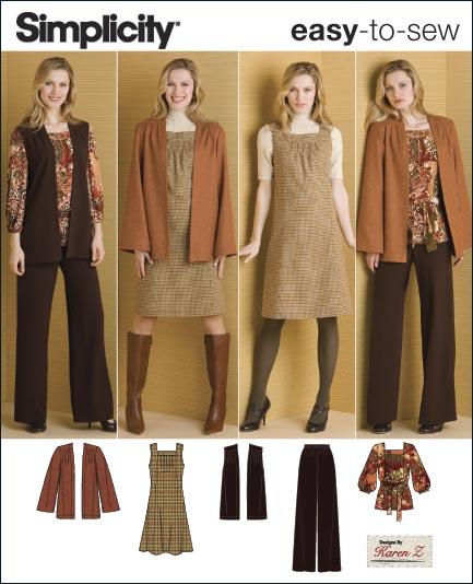 Simplicity Misses or Plus Size Pants, Jumper, Top, Jacket, Vest & Belt 2866