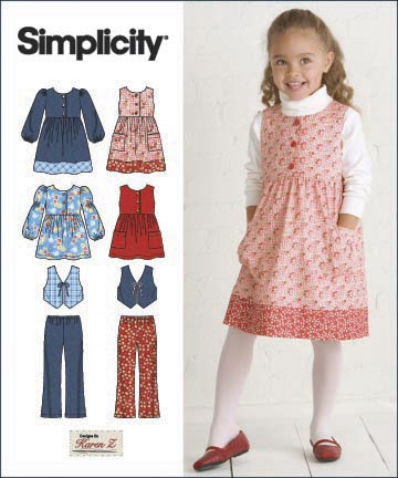 Simplicity Child Dress or Jumper, Top, Pants and Vest 2874